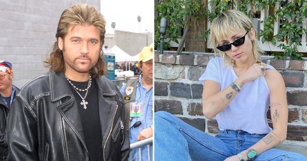 Miley Cyrus Mullet Billy Ray Cyrus celebrity haircuts